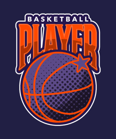T-Shirt Design Template for Basketball Enthusiasts 3517g