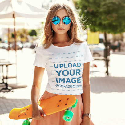 T-Shirt Mockup of a Cool Young Woman Holding a Penny Board M1580-r-el2