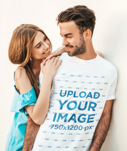 T-Shirt Mockup of a Bearded Young Man Receiving a Hug From His Girlfriend M1549-r-el2