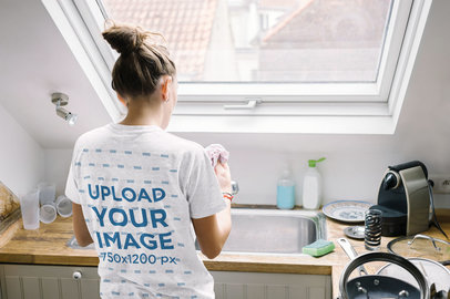 Back-View Tee Mockup of a Woman Washing the Dishes 45100-r-el2
