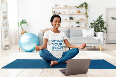 T-Shirt of a Pregnant Woman Taking an Online Yoga Class at Home 46502-r-el2