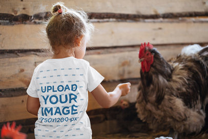 Back-View T-Shirt Mockup of a Little Girl Feeding a Chicken 45323-r-el2