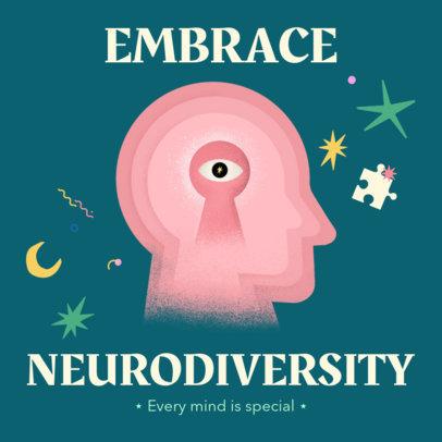 Instagram Post Design Maker Featuring to Celebrate Neurodiversity 3526c
