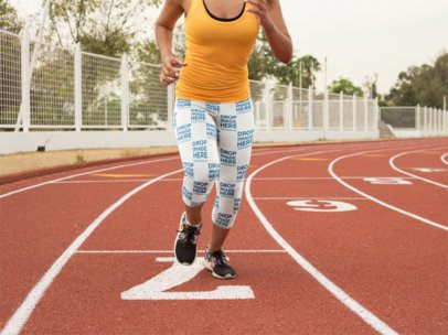 Track and Field Uniforms - Young Girl Startin to Run While Wearing Leggings Mockup a15320