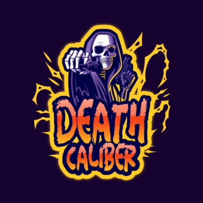 Gaming Logo Template Featuring a Shooter Skeleton Character 4191l