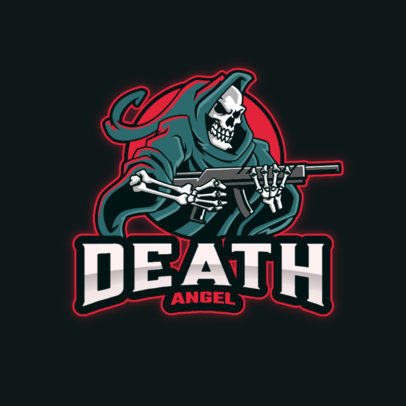 Illustrated Logo Maker for a Gaming Squad Featuring an Armed Reaper 4190h