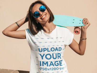 Mockup of a Cool Short-Haired Woman Wearing a T-Shirt M1510-r-el2