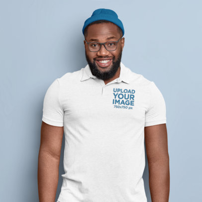 Polo Shirt Mockup of a Bearded Man Standing Against a Wall M3649-r-el2
