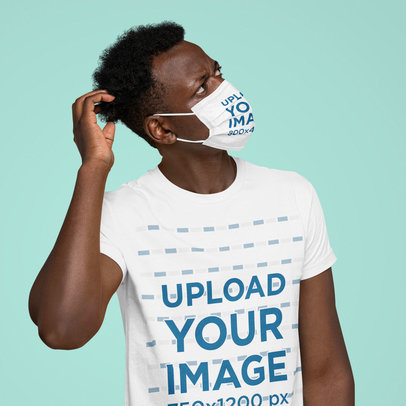 Face Mask Mockup of a Man Wearing a T-Shirt Against a Plain Background m2882-r-el2