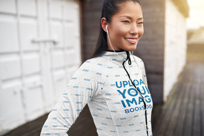 Sublimated Full-Zip Hoodie Mockup of a Happy Woman Posing 41134-r-el2