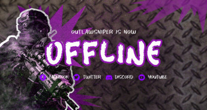 Twitch Banner Design Template Featuring a Shooter Character 3534