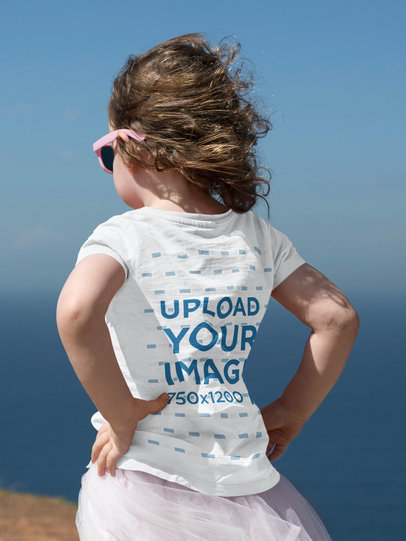 Back-View T-Shirt Mockup Featuring a Little Girl Outdoors 46248-r-el2