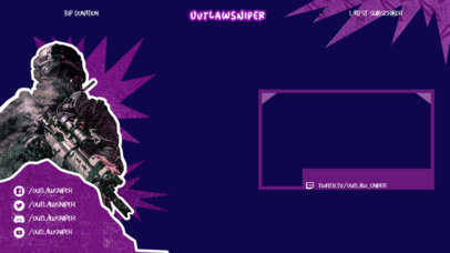 Twitch Overlay Design Template Featuring a Shooter Character 3534