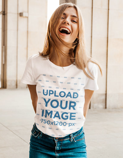 Basic Tee Mockup Featuring a Young Woman Laughing m1378-r-el2