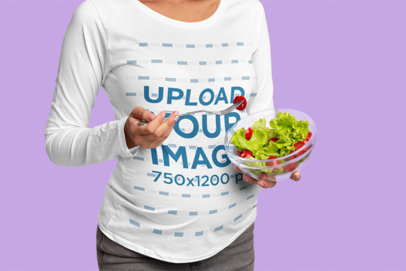 Long-Sleeve Tee Mockup Featuring a Pregnant Woman Eating a Salad 39699r-el2