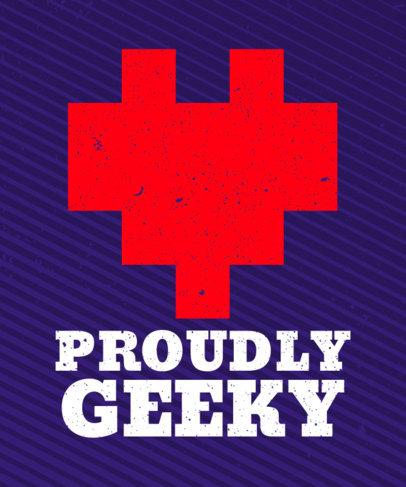 T-Shirt Design Generator for Gamers Featuring an 8-Bit Heart Graphic 28b