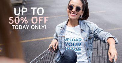Facebook Ad - Girl on a Shopping Cart a1028