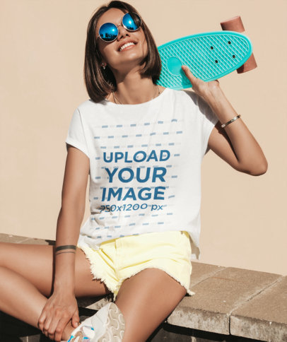 T-Shirt Mockup of a Young Woman with a Penny Board M1616-r-el2