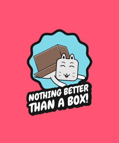 T-Shirt Design Template Featuring a Happy Cat Inside a Box 3730e-el1