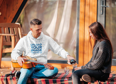 Hoodie Mockup of a Man on a Date at a Cabin 44617-r-el2