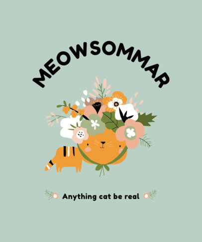 T-Shirt Design Template Featuring Illustrations of Cats 3740-el1