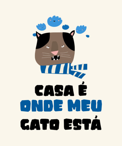 Simple T-Shirt Design Maker with a Portuguese Quote for Cat Owners 3742a-el1