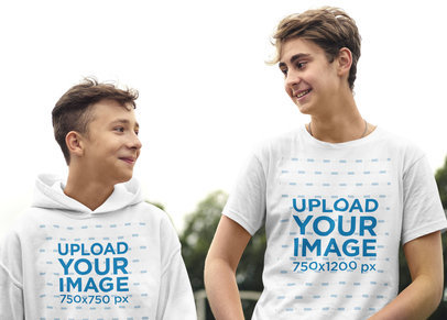 T-Shirt and Hoodie Mockup Featuring Two Young Men Looking at Each Other 42030-r-el2