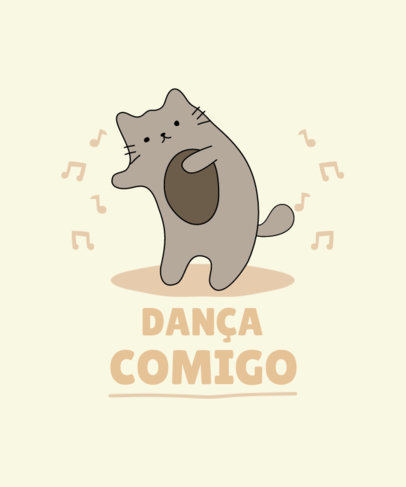 T-Shirt Design Template Featuring a Dancing Cat Graphic 3732b-el1