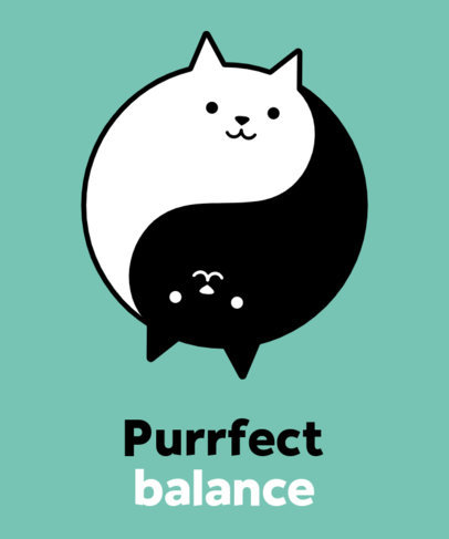 Cartoonish T-Shirt Design Maker with a Ying-Yang-Shaped Cat Graphic 24g