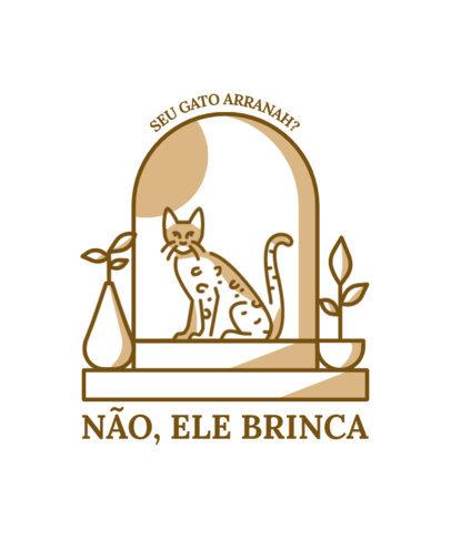 T-Shirt Design Creator Featuring a Bengal Cat and a Portuguese Quote 3736b-el1