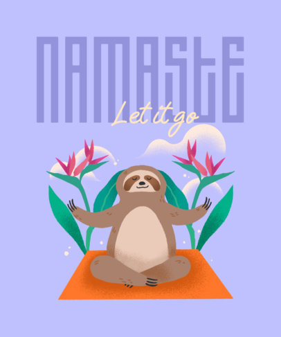 Illustrated T-Shirt Design Template Featuring a Sloth Graphic and a Yoga Theme 3540d
