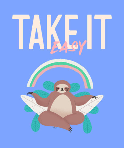 T-Shirt Design Maker Featuring a Rainbow and a Sloth Meditating T-Shirt Design Maker Featuring a Rainbow and a Sloth Meditating 3540c
