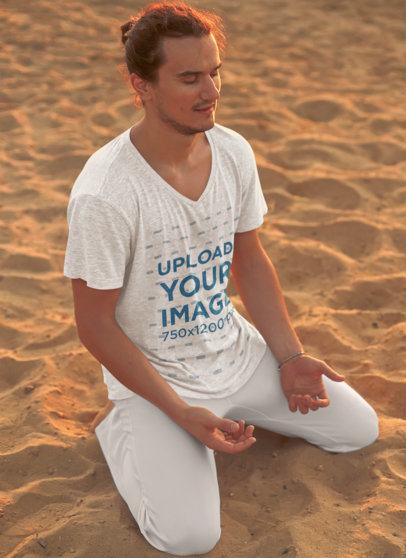 V-Neck T-Shirt Mockup of a Man Meditating in the Beach 38748-r-el2