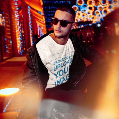 T-Shirt Mockup of a Cool Man Posing at Night 46556-r-el2