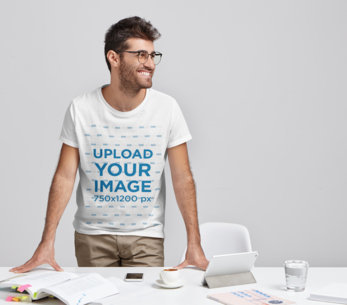 Studio Mockup of a Man Wearing a T-Shirt at a Work Meeting m2909-r-el2