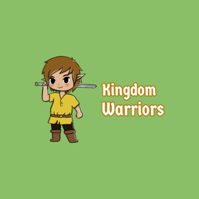 Logo Template with a Fantasy-Gaming Style Warrior Character Graphic 4210d