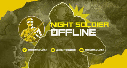 Twitch Banner Template for a Gamer Featuring a Battle Royale Shooter Skin 3532e