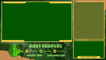 Twitch Overlay Generator for a Gaming Channel with a Shooter Character 3532b