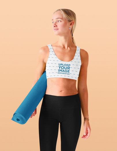 Sports Bra Mockup of a Young Woman Modeling a Yoga Attire m3676-r-el2