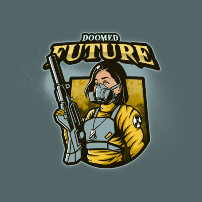 Gaming Logo Maker Featuring a Female Shooter with a Gas Mask 4200i