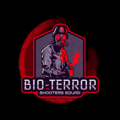 Gaming Logo Maker Featuring a Character With a Vintage Gas Mask Holding a Gun 4204l