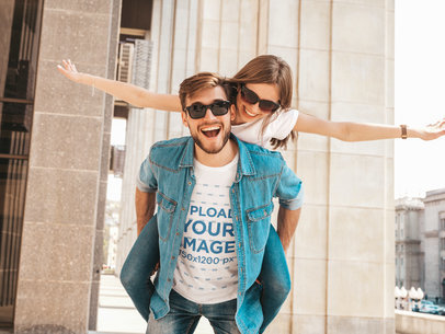 T-Shirt Mockup of a Young Man Being Playful with His Girlfriend M4172-r-el2