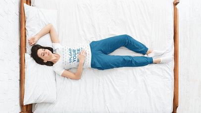 V-Neck T-Shirt Mockup of a Woman Sleeping 41006-r-el2