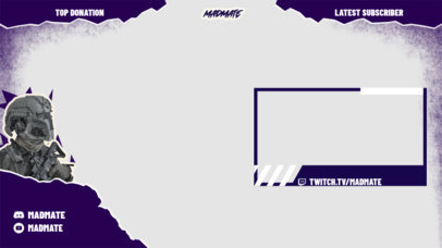 Cool Twitch Overlay Creator for Gamers Featuring a Shooters Theme 3534e