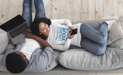 Long Sleeve Tee Mockup Featuring a Happy Woman Chilling With Her Boyfriend at Home 41038r-el2