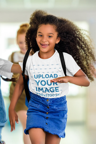 T-Shirt Mockup of a Happy Curly-Haired Girl Running at School m2959-r-el2