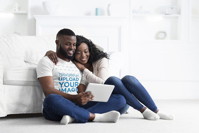 T-Shirt Mockup of a Bearded Man and His Girlfriend Sitting On the Floor 41056-r-el2