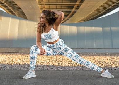 Sports Bra and Leggings Mockup of a Fit Woman Posing m3697-r-el2