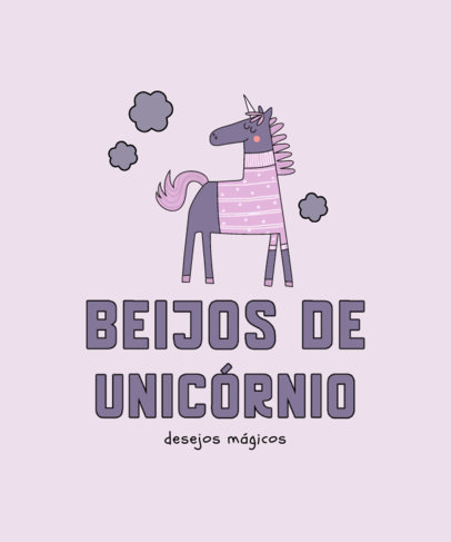 Fun T-Shirt Design Template for Kids Featuring a Magical Unicorn 3764d-el1