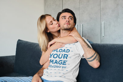 T-Shirt Mockup of a Man With Arm Tattoos Posing With His Girlfriend at Home 39725-r-el2